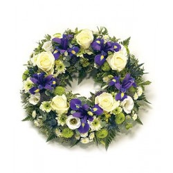 Traditional Round Iris & Rose Wreath