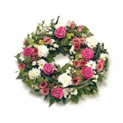 Traditional Round Rose and Carnation Wreath
