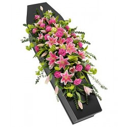 Pink Rose & Lily Casket Spray